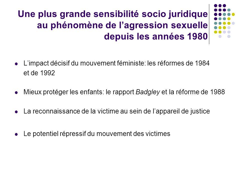 Une plus grande sensibilité socio juridique au phénomène de lagression sexuelle depuis les années 1980 Limpact décisif du mouvement féministe: les réf