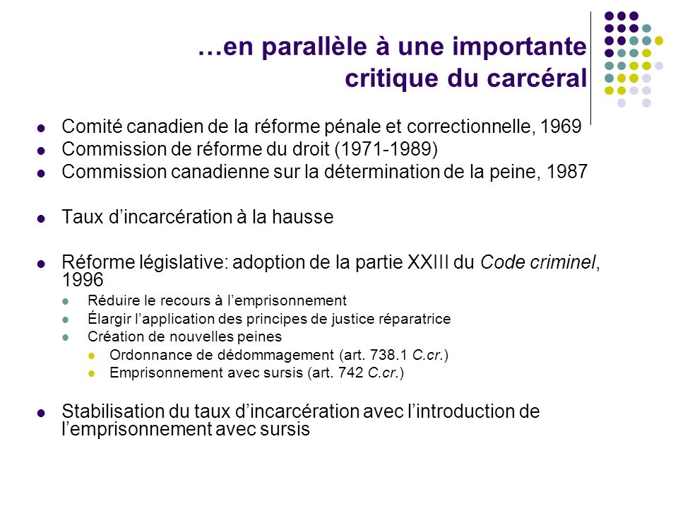 …en parallèle à une importante critique du carcéral Comité canadien de la réforme pénale et correctionnelle, 1969 Commission de réforme du droit (1971