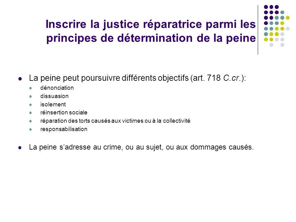 Inscrire la justice réparatrice parmi les principes de détermination de la peine La peine peut poursuivre différents objectifs (art. 718 C.cr.): dénon