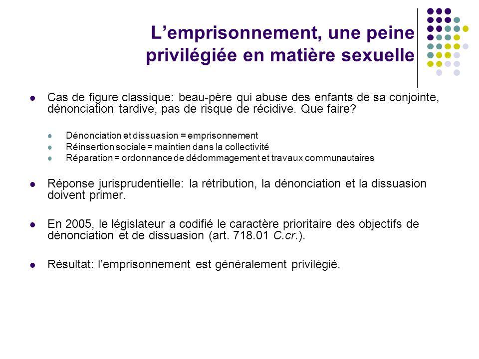 Léchelle des peines 12 à 23 mois de détention ferme: gestes sexuels de peu de gravité, incidence rare ou unique, une seule victime.