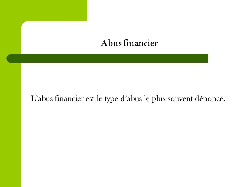 Abus financier Labus financier est le type dabus le plus souvent dénoncé.