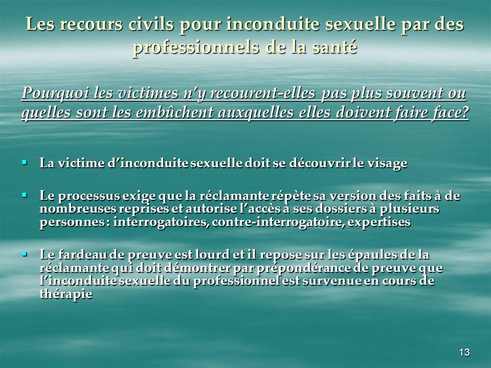 13 Les recours civils pour inconduite sexuelle par des professionnels de la santé Pourquoi les victimes ny recourent-elles pas plus souvent ou quelles