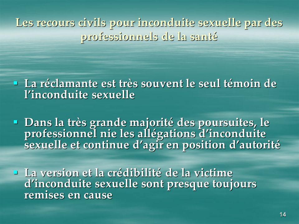 14 Les recours civils pour inconduite sexuelle par des professionnels de la santé La réclamante est très souvent le seul témoin de linconduite sexuell