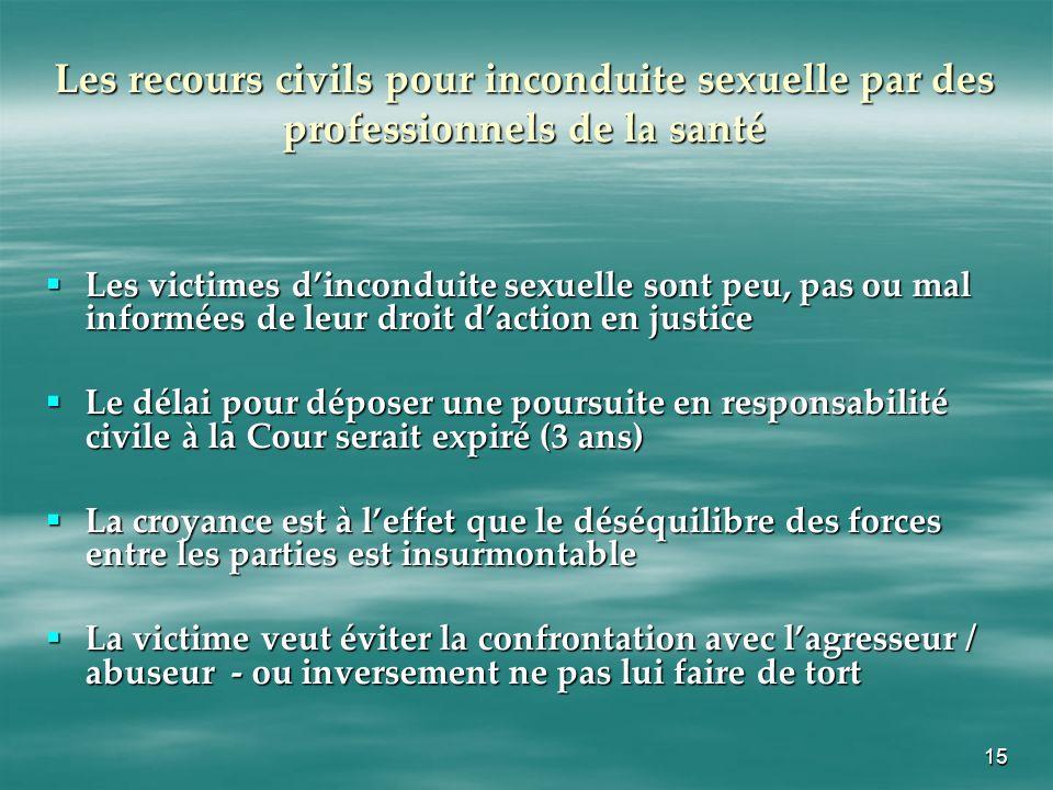 15 Les recours civils pour inconduite sexuelle par des professionnels de la santé Les victimes dinconduite sexuelle sont peu, pas ou mal informées de