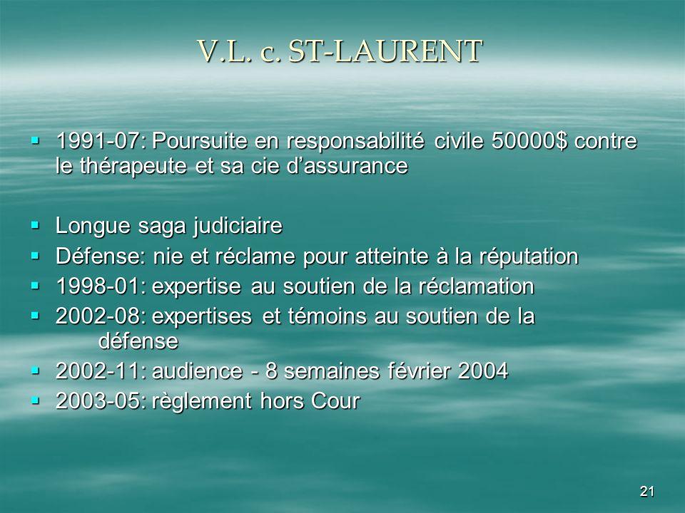 21 V.L. c. ST-LAURENT 1991-07: Poursuite en responsabilité civile 50000$ contre le thérapeute et sa cie dassurance 1991-07: Poursuite en responsabilit
