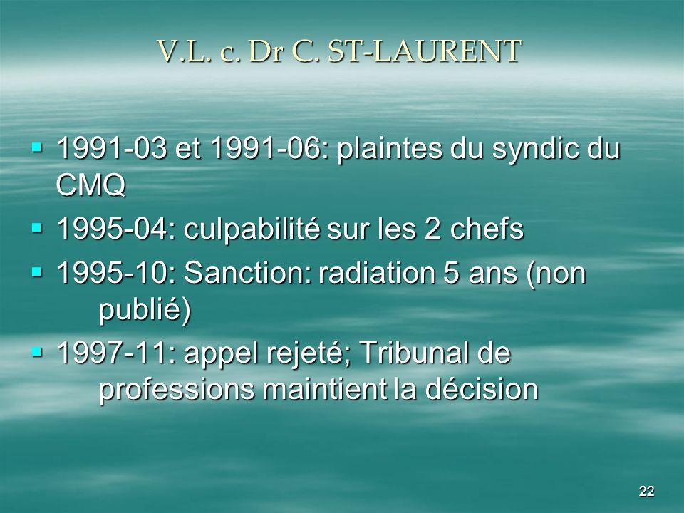 22 V.L. c. Dr C. ST-LAURENT 1991-03 et 1991-06: plaintes du syndic du CMQ 1991-03 et 1991-06: plaintes du syndic du CMQ 1995-04: culpabilité sur les 2