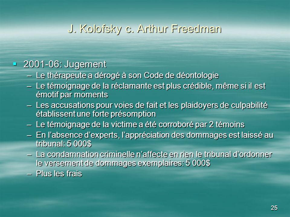 25 J. Kolofsky c. Arthur Freedman 2001-06: Jugement 2001-06: Jugement –Le thérapeute a dérogé à son Code de déontologie –Le témoignage de la réclamant