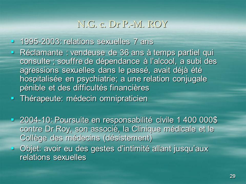 29 N.G. c. Dr P.-M. ROY 1995-2003: relations sexuelles 7 ans 1995-2003: relations sexuelles 7 ans Réclamante : vendeuse de 36 ans à temps partiel qui
