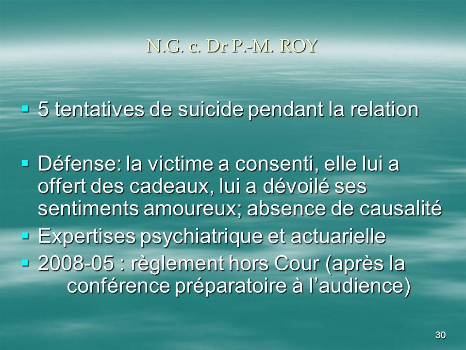 30 N.G. c. Dr P.-M. ROY 5 tentatives de suicide pendant la relation 5 tentatives de suicide pendant la relation Défense: la victime a consenti, elle l
