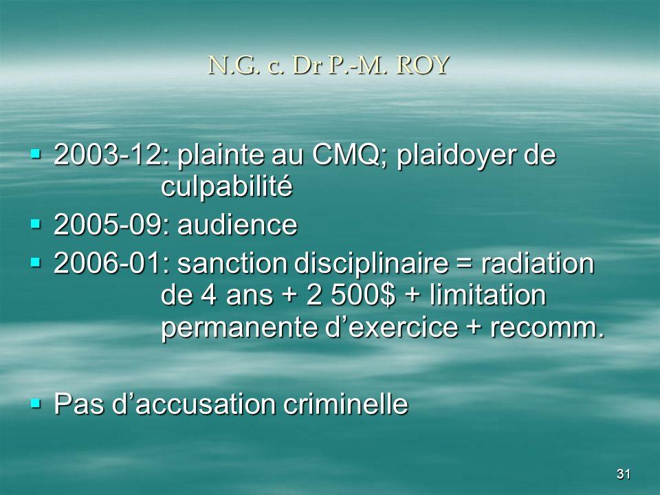31 N.G. c. Dr P.-M. ROY 2003-12: plainte au CMQ; plaidoyer de culpabilité 2003-12: plainte au CMQ; plaidoyer de culpabilité 2005-09: audience 2005-09: