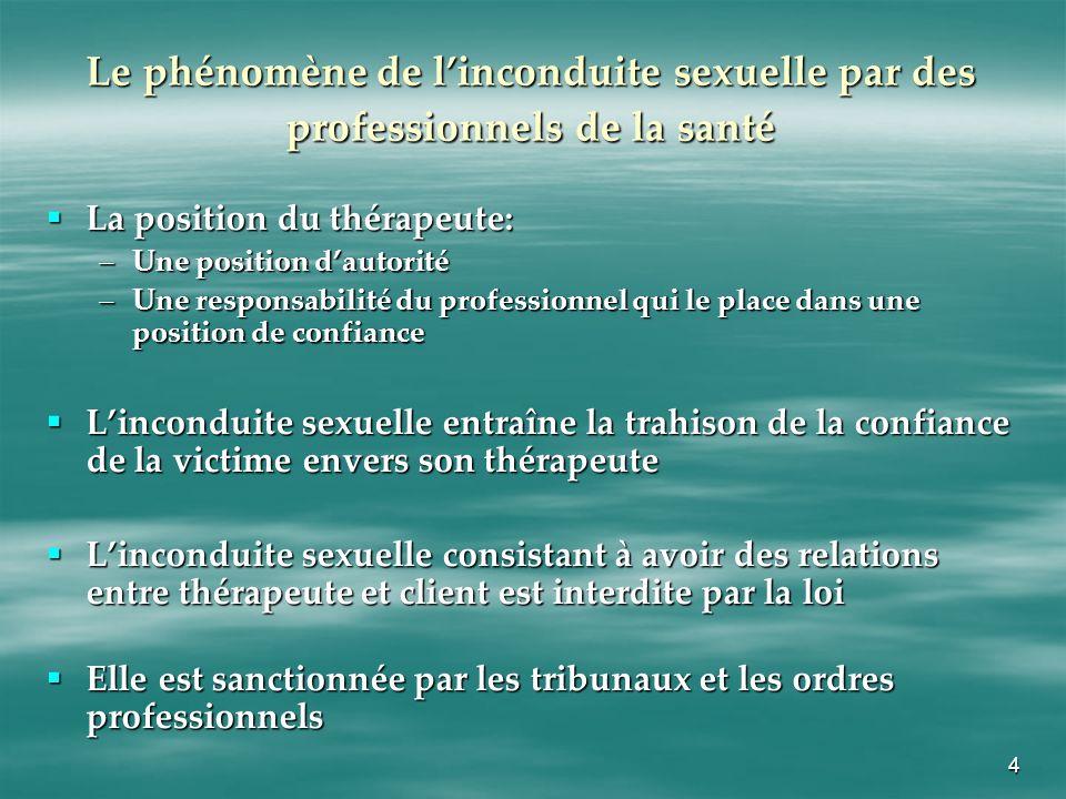 5 Les recours civils pour inconduite sexuelle par des professionnels de la santé Les poursuites en responsabilité civile pour inconduite sexuelle contre les professionnels de la santé sont rares.