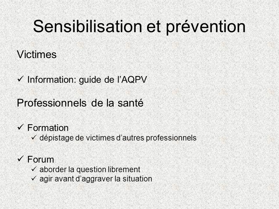 Sensibilisation et prévention Victimes Information: guide de lAQPV Professionnels de la santé Formation dépistage de victimes dautres professionnels F