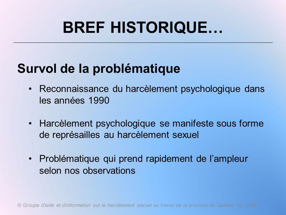 BREF HISTORIQUE… Survol de la problématique Reconnaissance du harcèlement psychologique dans les années 1990 Harcèlement psychologique se manifeste so
