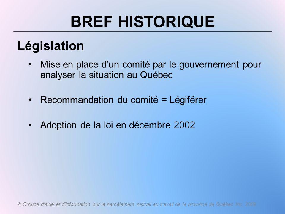 BREF HISTORIQUE Législation Mise en place dun comité par le gouvernement pour analyser la situation au Québec Recommandation du comité = Légiférer Ado