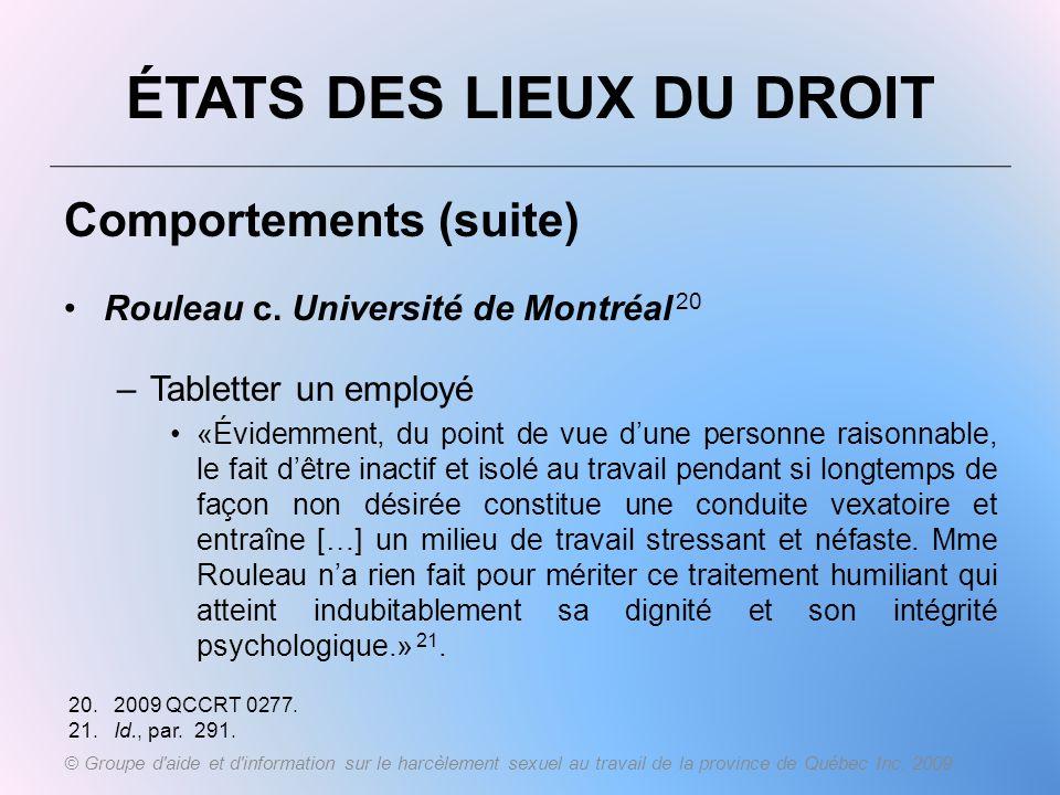 ÉTATS DES LIEUX DU DROIT Comportements (suite) Rouleau c. Université de Montréal 20 –Tabletter un employé «Évidemment, du point de vue dune personne r