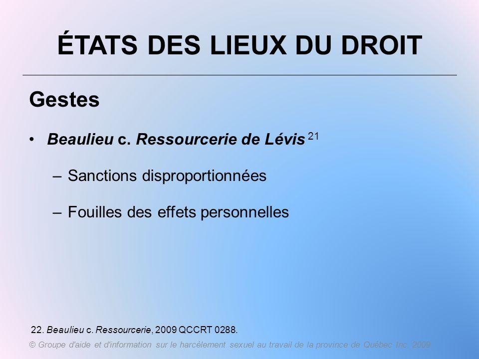 ÉTATS DES LIEUX DU DROIT Gestes Beaulieu c. Ressourcerie de Lévis 21 –Sanctions disproportionnées –Fouilles des effets personnelles 22. Beaulieu c. Re