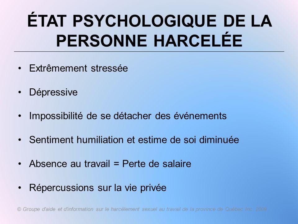 ÉTAT PSYCHOLOGIQUE DE LA PERSONNE HARCELÉE Extrêmement stressée Dépressive Impossibilité de se détacher des événements Sentiment humiliation et estime