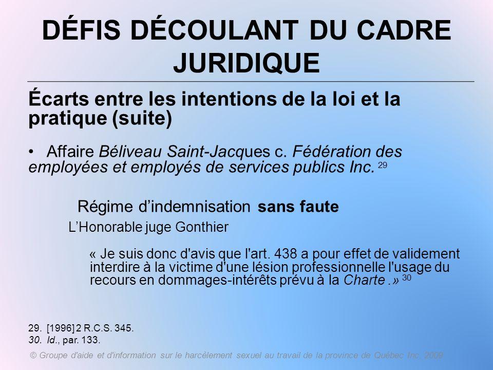 DÉFIS DÉCOULANT DU CADRE JURIDIQUE Écarts entre les intentions de la loi et la pratique (suite) Affaire Béliveau Saint-Jacques c. Fédération des emplo
