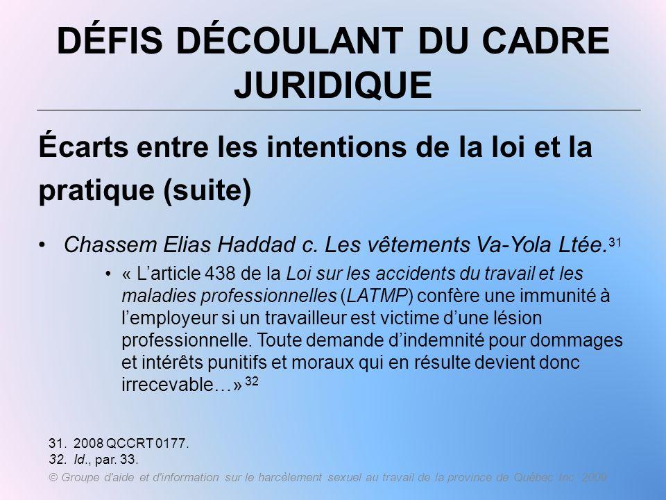 DÉFIS DÉCOULANT DU CADRE JURIDIQUE Écarts entre les intentions de la loi et la pratique (suite) Chassem Elias Haddad c. Les vêtements Va-Yola Ltée. 31
