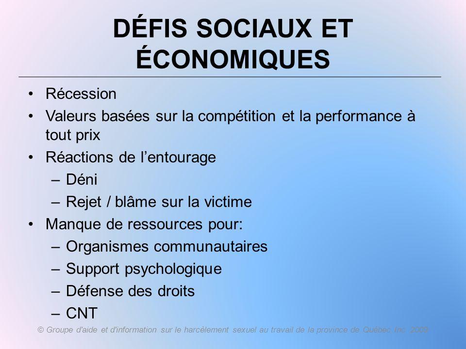 DÉFIS SOCIAUX ET ÉCONOMIQUES Récession Valeurs basées sur la compétition et la performance à tout prix Réactions de lentourage –Déni –Rejet / blâme su