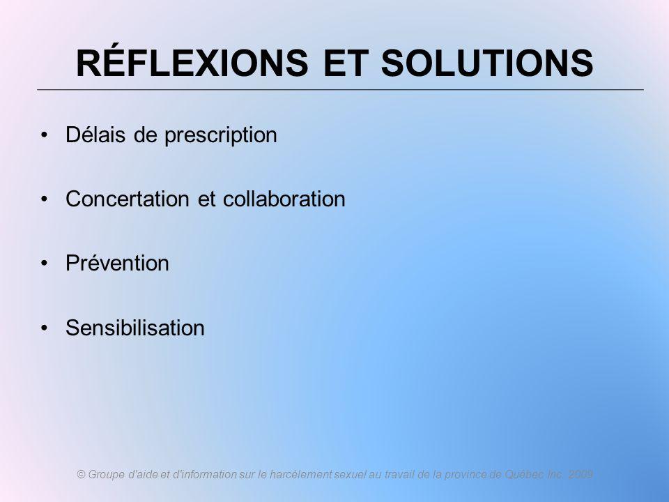Délais de prescription Concertation et collaboration Prévention Sensibilisation © Groupe d'aide et d'information sur le harcèlement sexuel au travail