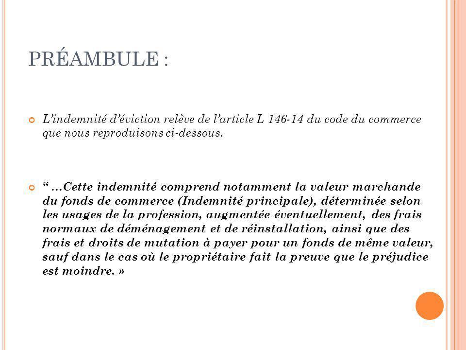 PRÉAMBULE : Lindemnité déviction relève de larticle L 146-14 du code du commerce que nous reproduisons ci-dessous. …Cette indemnité comprend notamment