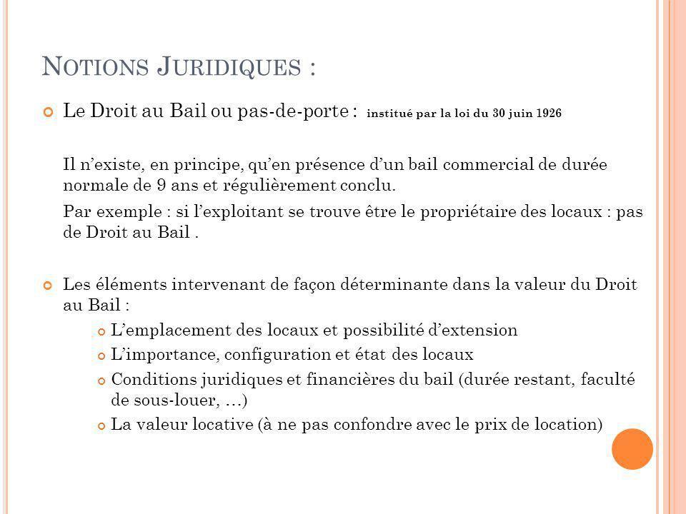 N OTIONS J URIDIQUES : Le Droit au Bail ou pas-de-porte : institué par la loi du 30 juin 1926 Il nexiste, en principe, quen présence dun bail commerci