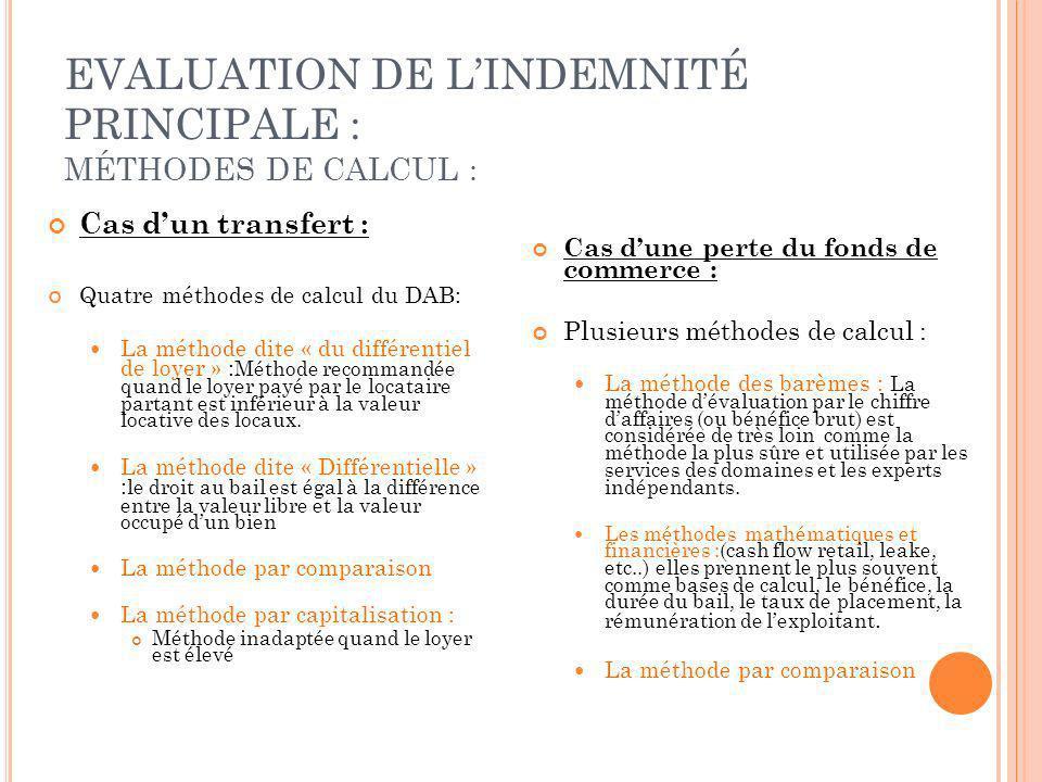 EVALUATION DE LINDEMNITÉ PRINCIPALE : MÉTHODES DE CALCUL : Cas dun transfert : Quatre méthodes de calcul du DAB: La méthode dite « du différentiel de