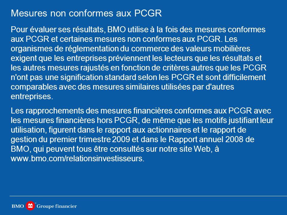Mesures non conformes aux PCGR Pour évaluer ses résultats, BMO utilise à la fois des mesures conformes aux PCGR et certaines mesures non conformes aux PCGR.