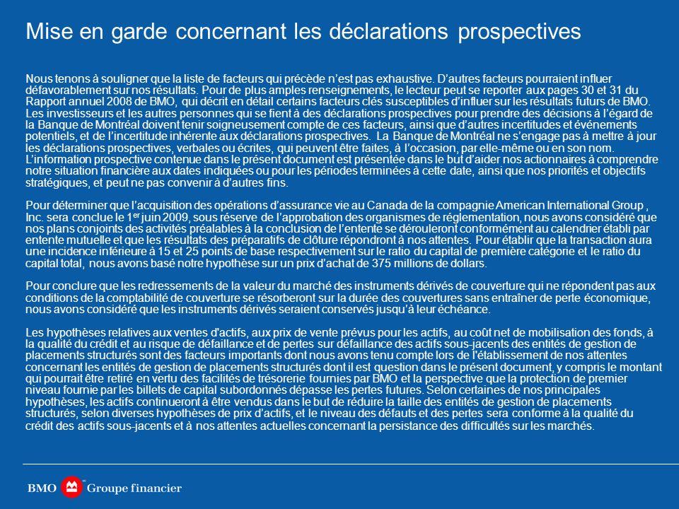 Mise en garde concernant les déclarations prospectives Nous tenons à souligner que la liste de facteurs qui précède nest pas exhaustive.