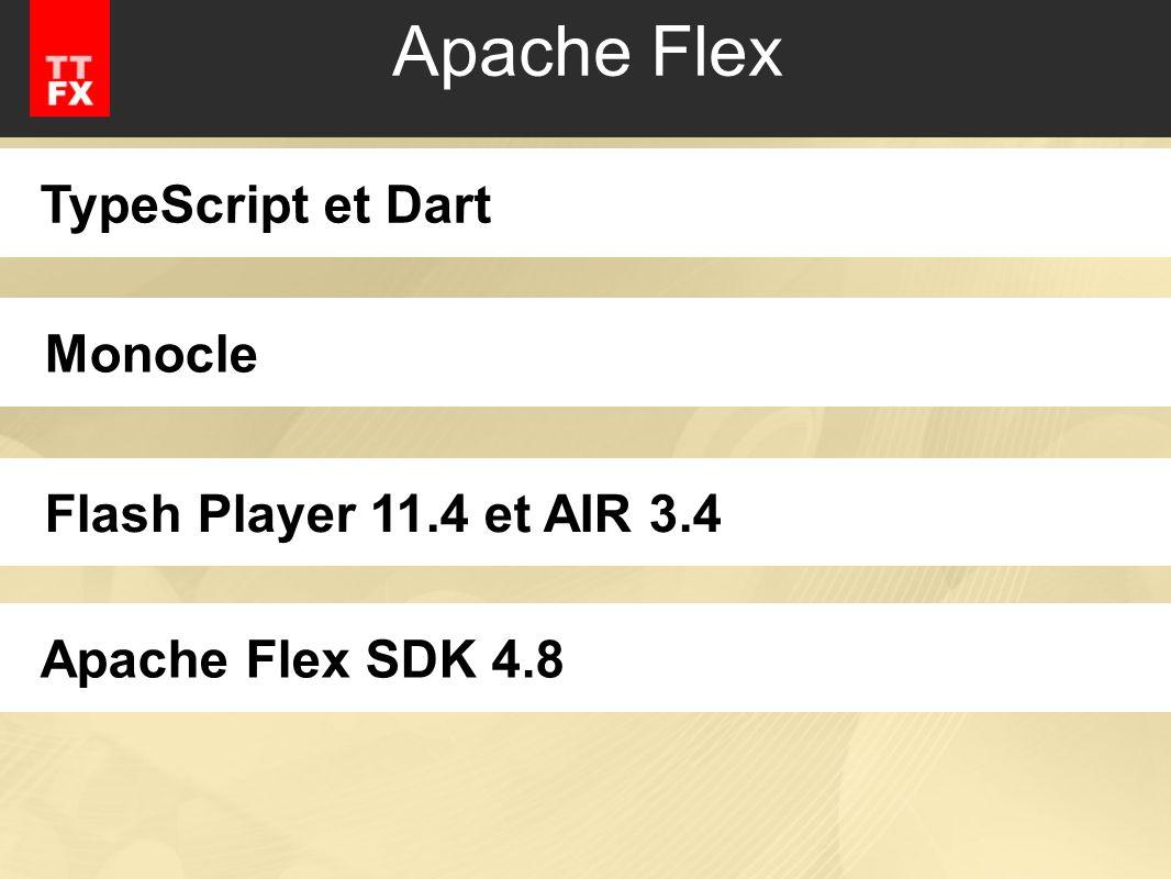 Apache Flex TypeScript et DartMonocleFlash Player 11.4 et AIR 3.4Apache Flex SDK 4.8