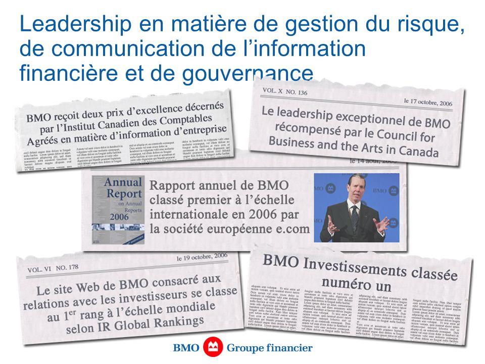 Leadership en matière de gestion du risque, de communication de linformation financière et de gouvernance