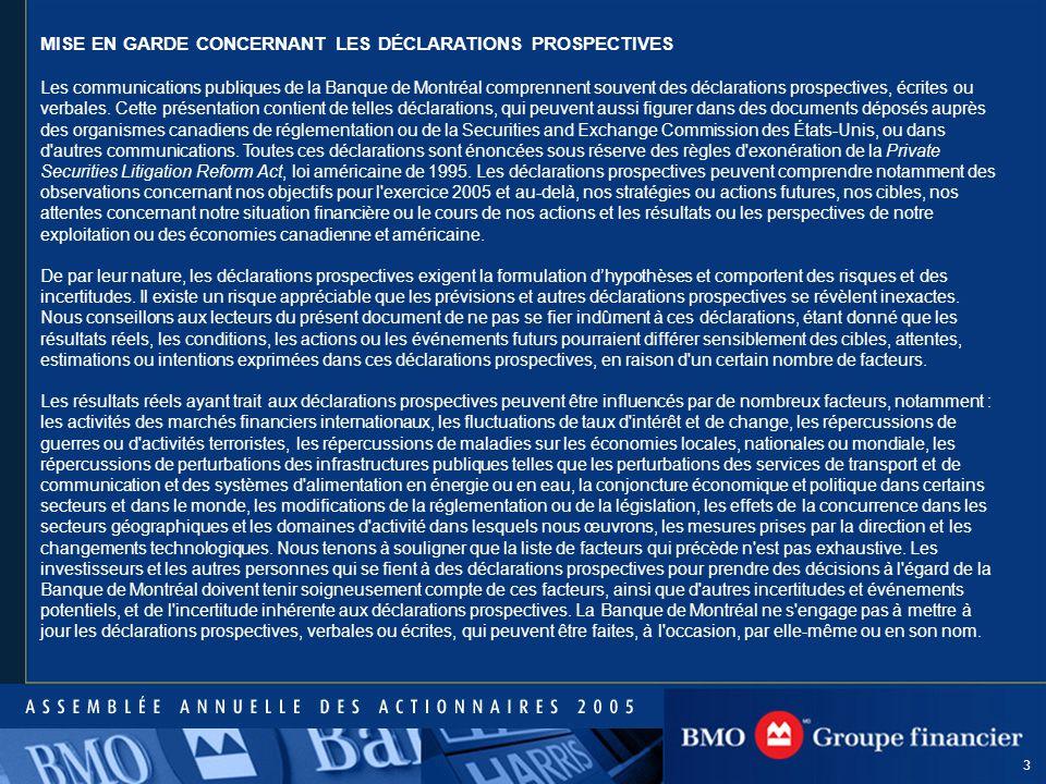 3 MISE EN GARDE CONCERNANT LES DÉCLARATIONS PROSPECTIVES Les communications publiques de la Banque de Montréal comprennent souvent des déclarations prospectives, écrites ou verbales.