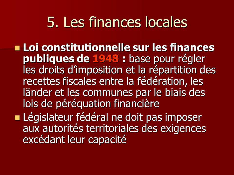 5. Les finances locales Loi constitutionnelle sur les finances publiques de 1948 : base pour régler les droits dimposition et la répartition des recet