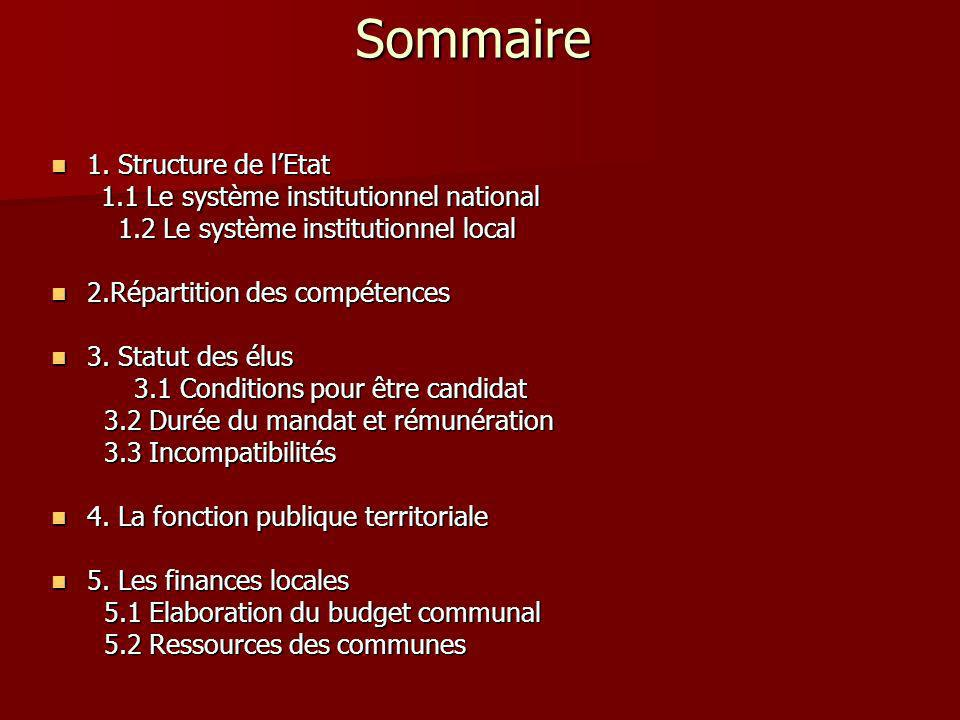Sommaire 1. Structure de lEtat 1. Structure de lEtat 1.1 Le système institutionnel national 1.1 Le système institutionnel national 1.2 Le système inst