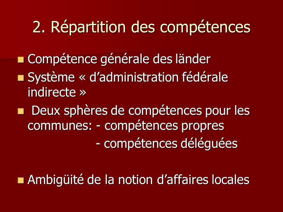2. Répartition des compétences Compétence générale des länder Compétence générale des länder Système « dadministration fédérale indirecte » Système «