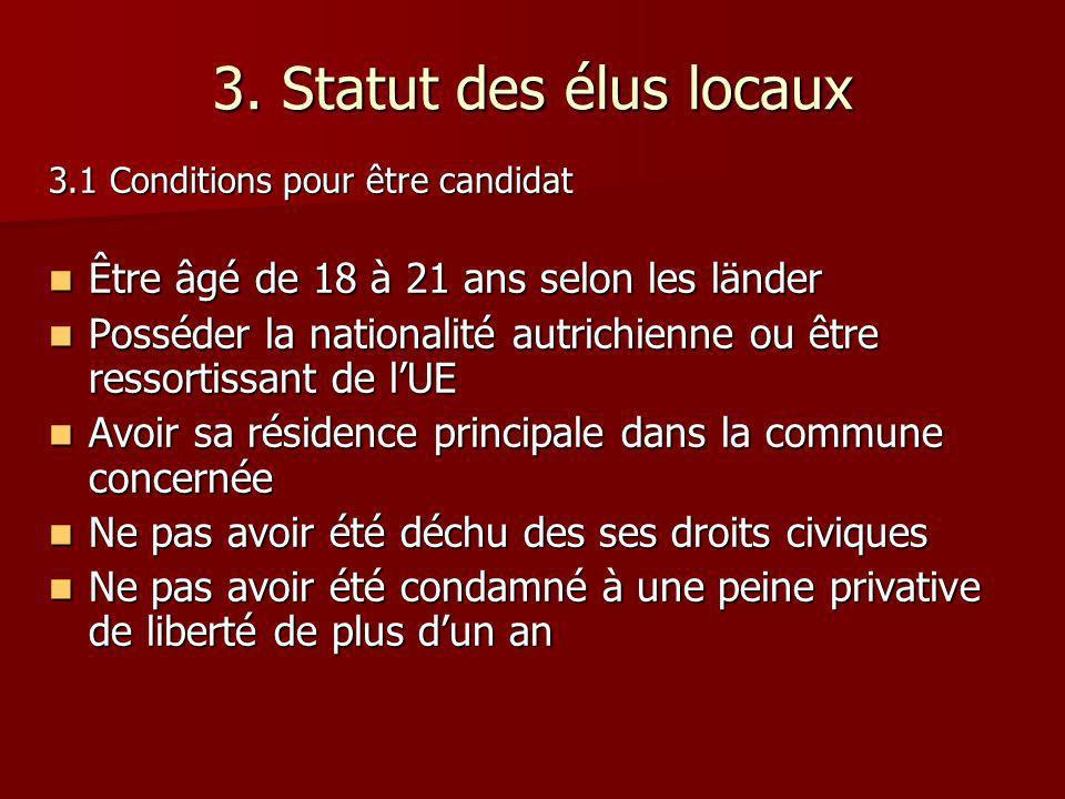 3. Statut des élus locaux 3.1 Conditions pour être candidat Être âgé de 18 à 21 ans selon les länder Être âgé de 18 à 21 ans selon les länder Posséder