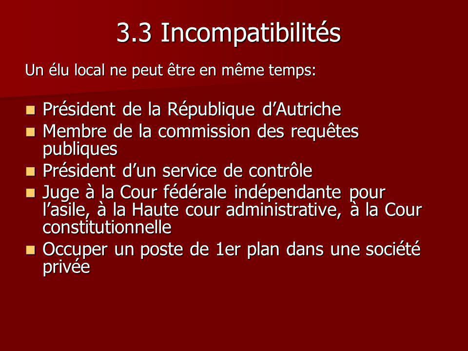 Un élu local ne peut être en même temps: Président de la République dAutriche Président de la République dAutriche Membre de la commission des requête