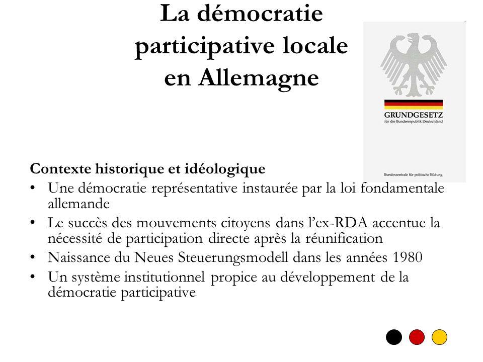 La démocratie participative locale en Allemagne Contexte historique et idéologique Une démocratie représentative instaurée par la loi fondamentale all