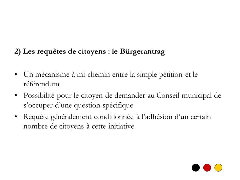 2) Les requêtes de citoyens : le Bürgerantrag Un mécanisme à mi-chemin entre la simple pétition et le référendum Possibilité pour le citoyen de demand