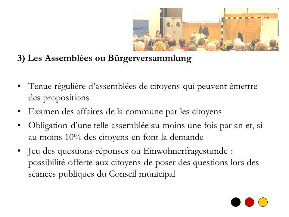 3) Les Assemblées ou Bürgerversammlung Tenue régulière dassemblées de citoyens qui peuvent émettre des propositions Examen des affaires de la commune