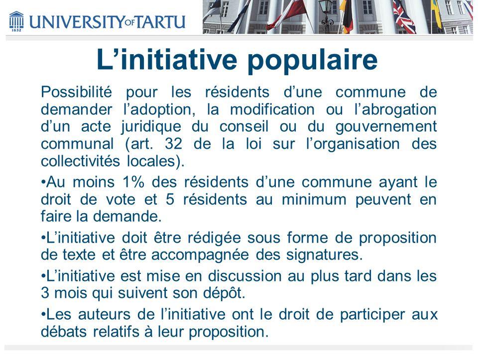 Linitiative populaire Possibilité pour les résidents dune commune de demander ladoption, la modification ou labrogation dun acte juridique du conseil ou du gouvernement communal (art.