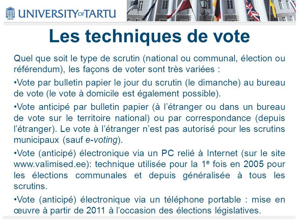Les techniques de vote Quel que soit le type de scrutin (national ou communal, élection ou référendum), les façons de voter sont très variées : Vote par bulletin papier le jour du scrutin (le dimanche) au bureau de vote (le vote à domicile est également possible).
