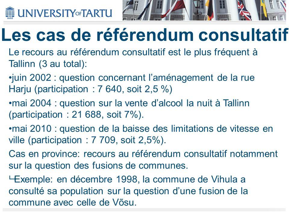Les cas de référendum consultatif Le recours au référendum consultatif est le plus fréquent à Tallinn (3 au total): juin 2002 : question concernant laménagement de la rue Harju (participation : 7 640, soit 2,5 %) mai 2004 : question sur la vente dalcool la nuit à Tallinn (participation : 21 688, soit 7%).