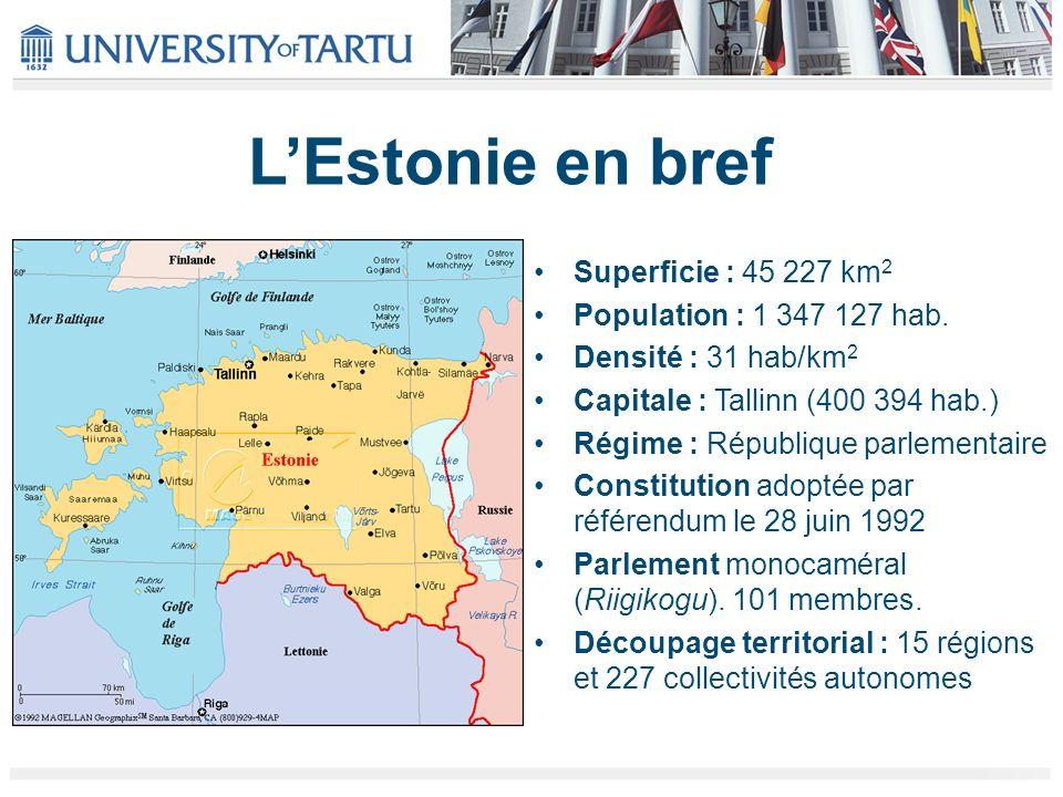LEstonie en bref Superficie : 45 227 km 2 Population : 1 347 127 hab.