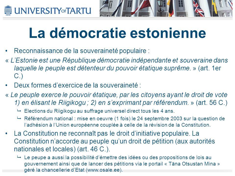 La démocratie estonienne Reconnaissance de la souveraineté populaire : « LEstonie est une République démocratie indépendante et souveraine dans laquelle le peuple est détenteur du pouvoir étatique suprême.