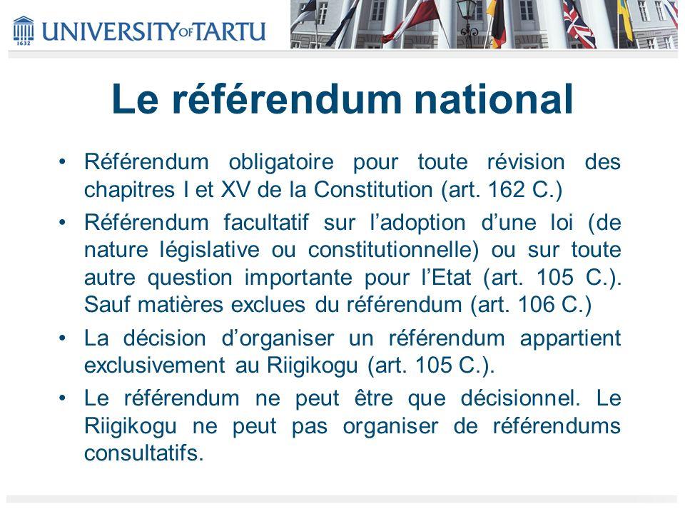 Le référendum national Référendum obligatoire pour toute révision des chapitres I et XV de la Constitution (art.
