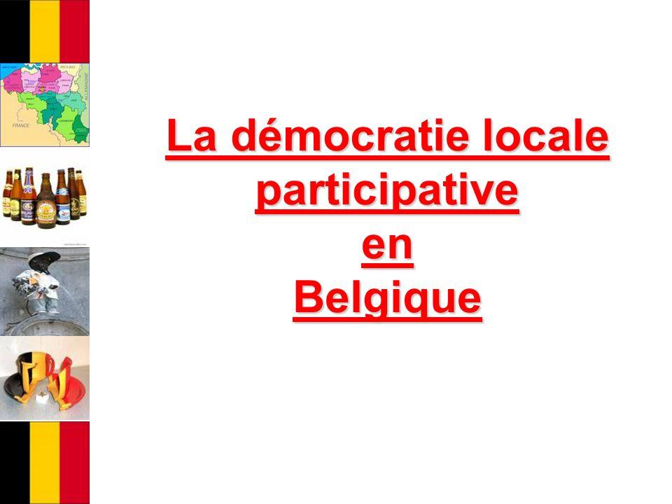 la démocratie locale représentative Le pouvoir local en Belgique est principalement fondé sur la la démocratie locale représentative Questions : Quen est-il de la participation citoyenne.