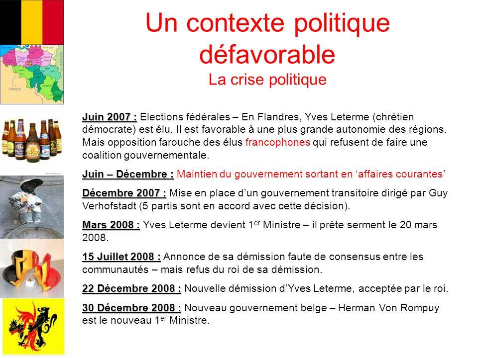 Un contexte politique défavorable La crise politique Juin 2007 : Juin 2007 : Elections fédérales – En Flandres, Yves Leterme (chrétien démocrate) est