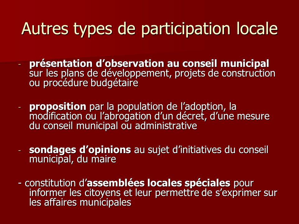 Autres types de participation locale - présentation dobservation au conseil municipal sur les plans de développement, projets de construction ou procé